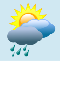picture black and white stock Weather Forecast Partly Sunny With Rain Clip Art at Clker