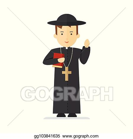 transparent library Vector stock character clip. Pastor clipart catholic priest
