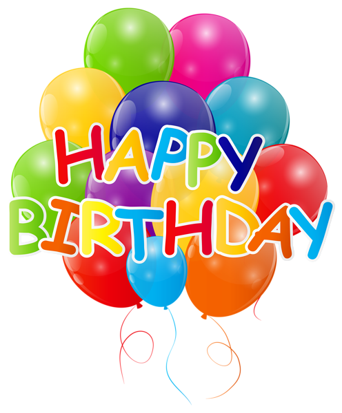clipart free library Happy Birthday with Bunch of Balloons PNG Clip Art Image