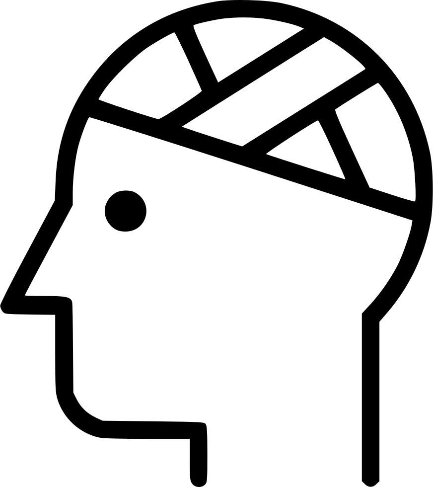 transparent Patient injury bandaged head. Bandage drawing arm