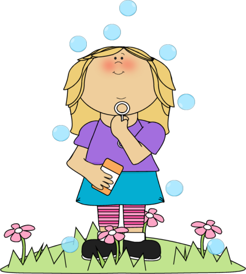 clipart download Girl in flower patch blowing bubbles