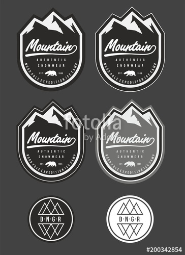 png freeuse library Snow winter mountain logo. Patch vector.