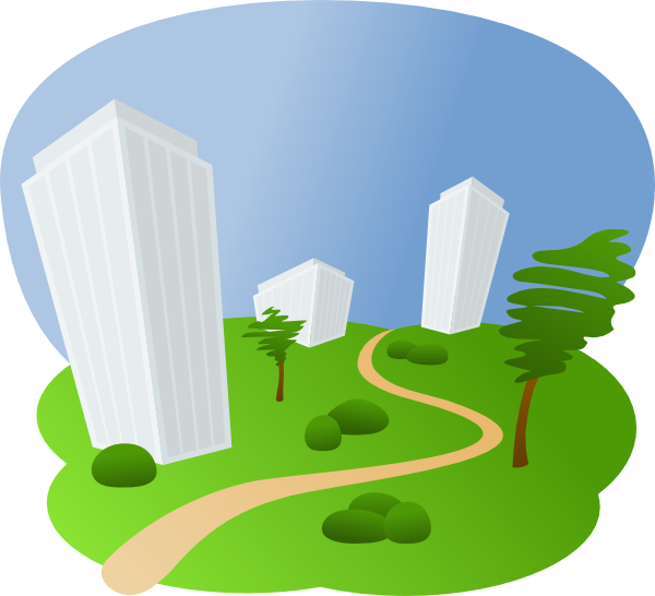 clip black and white library Path clipart. Office buildings along a