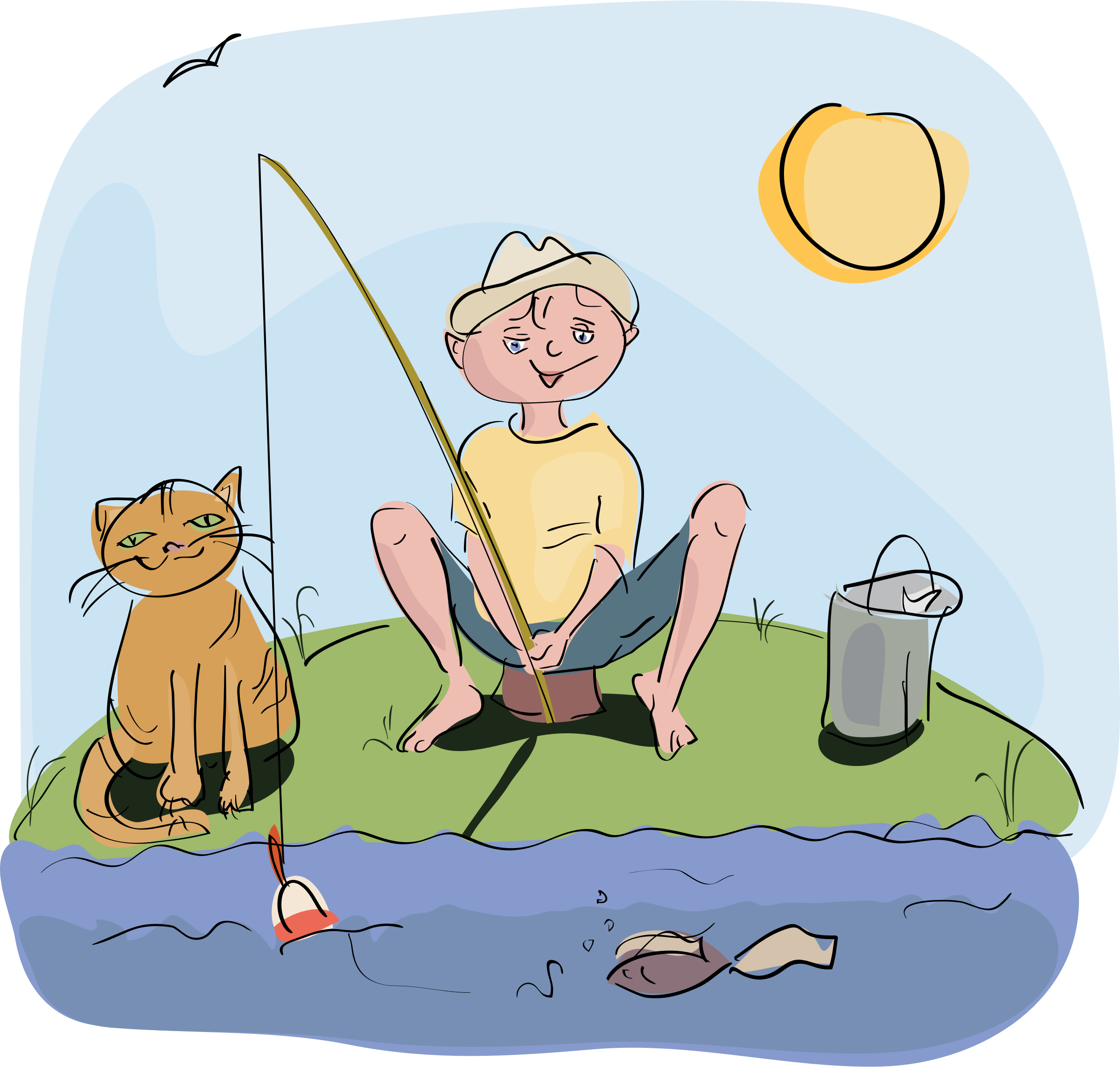 clipart freeuse library Boy and cat fishing. Beach clipart fish.