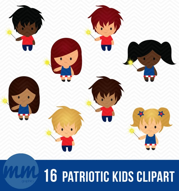 png free stock Patriotic kids clipart.  fourth of july