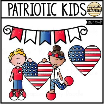 png black and white library Patriotic kids clipart. Freebie clip art for
