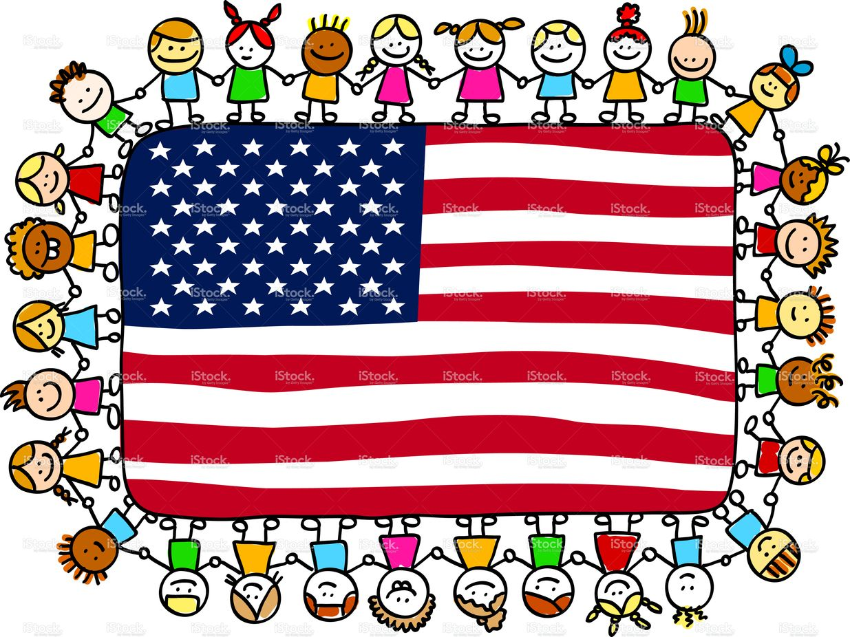 vector library library Patriotic kids clipart. Happy children friends holding