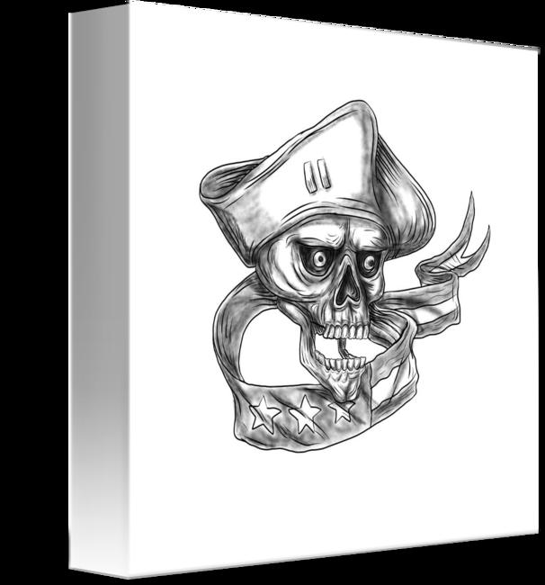 image stock Patriot flag ribbon tattoo. Usa drawing skull