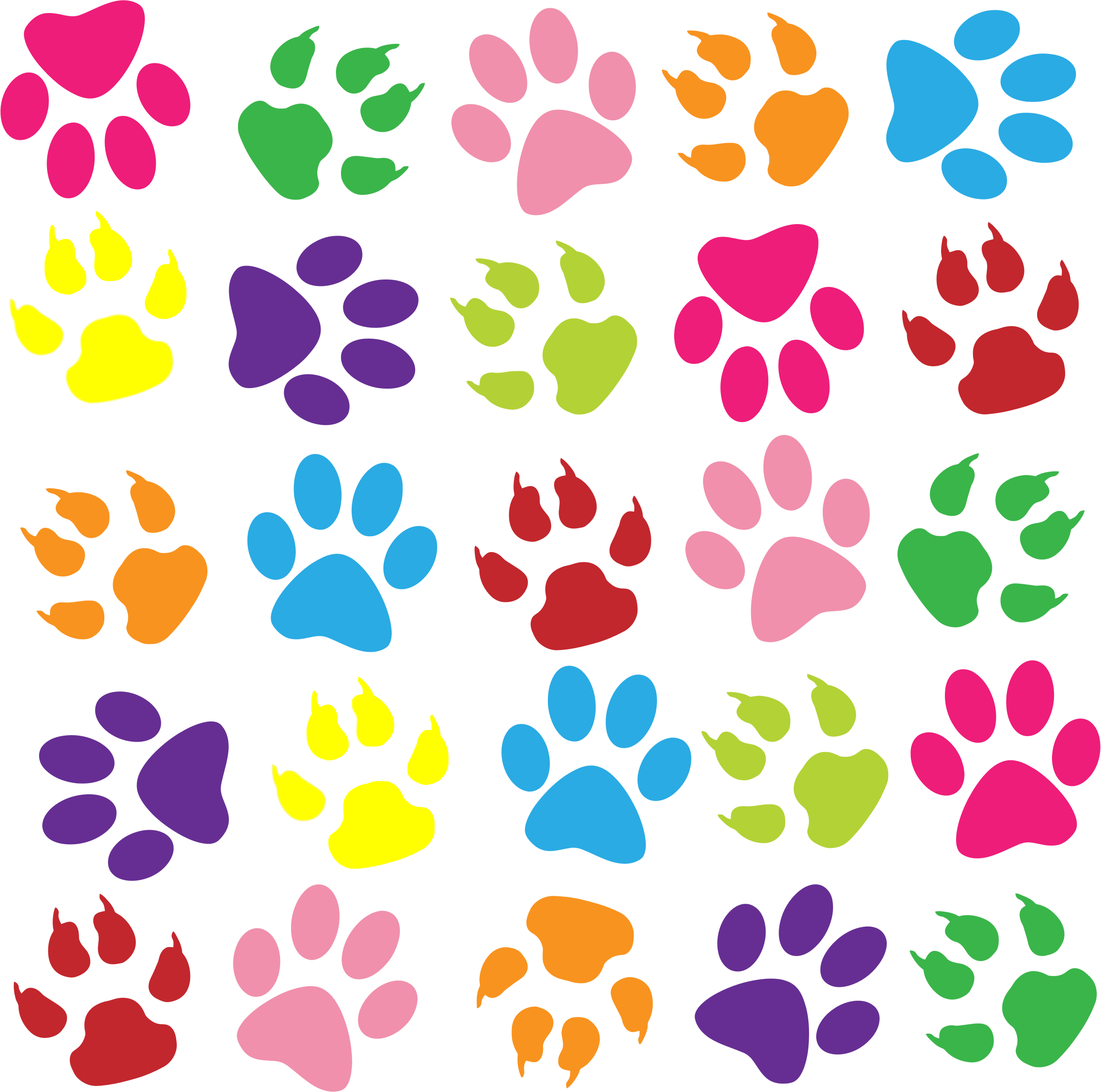 png black and white Colorful paw prints background. Pattern clipart