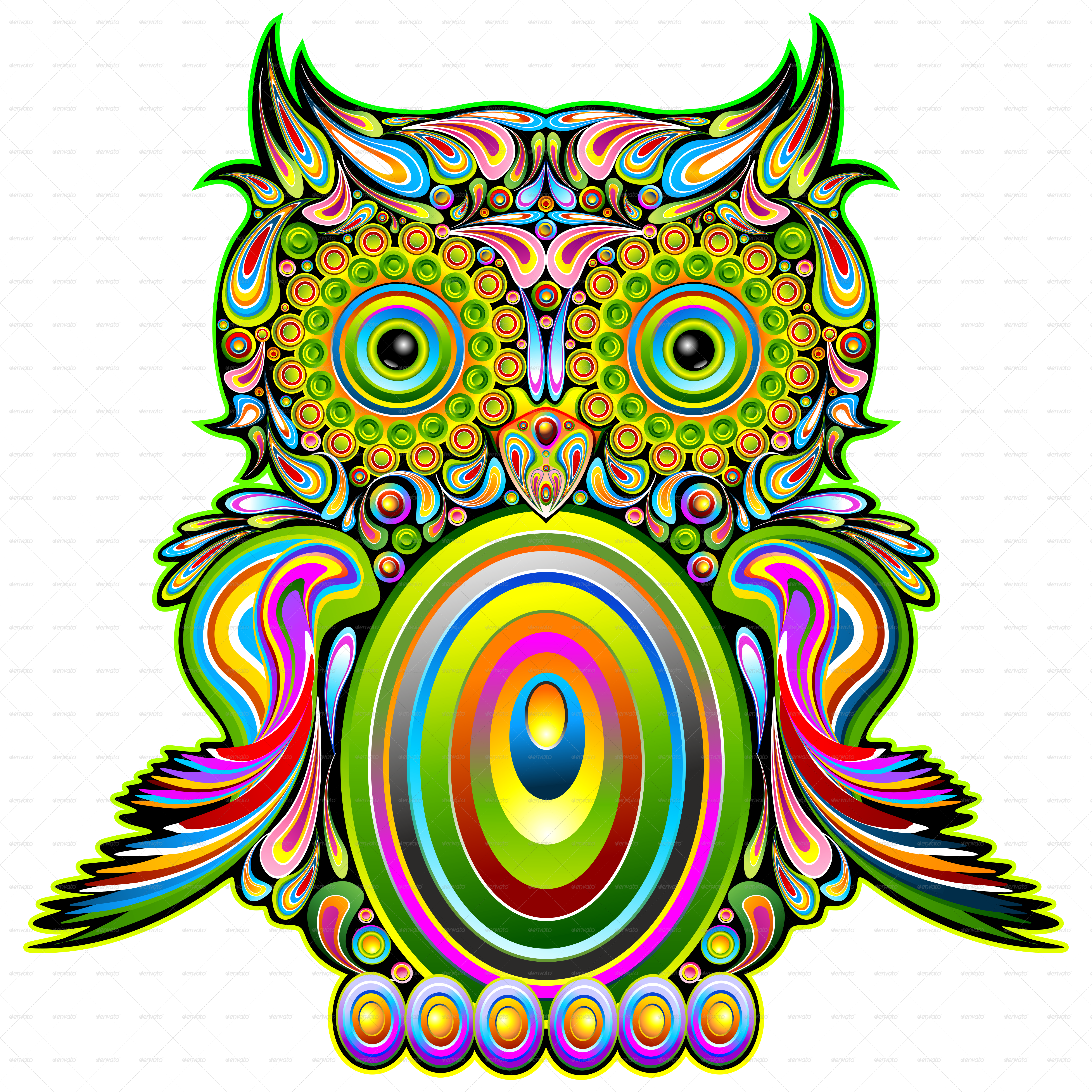 graphic royalty free download Owl Psychedelic Pop Art by Bluedarkat