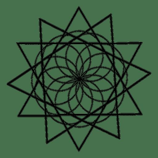 jpg Floral sacred design transparent. Geometry vector black and white.