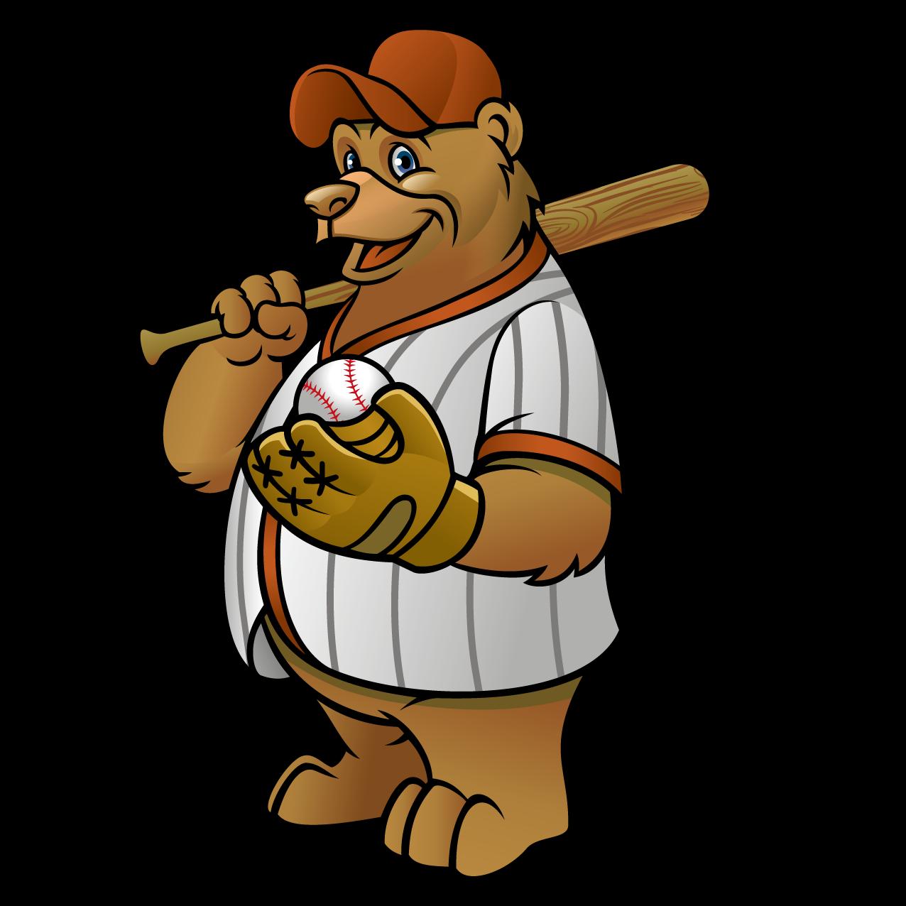 clip library library Baseball clip character. Bear cub clipart at