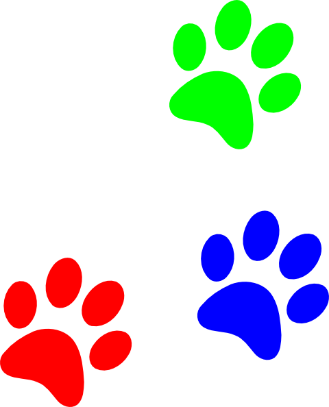 picture royalty free library Colorful Paw Print Clipart