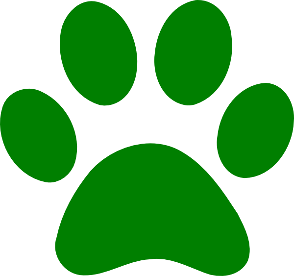 image black and white download Green paw print clip. Pawprint clipart cute
