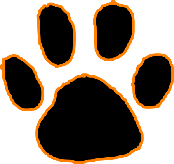 clip library Black Tiger Paw Print With Orange Outline Clip Art at Clker