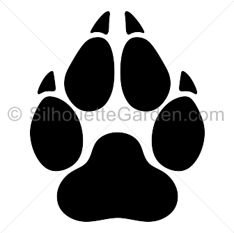 image Print silhouette clip art. Vector paw wolf