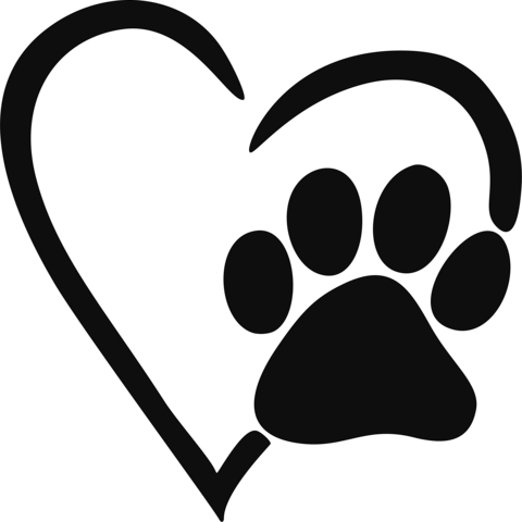 image freeuse Heart Paw Print Decal