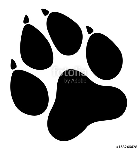 clip black and white Vector paw. Prints logo illustration isolated