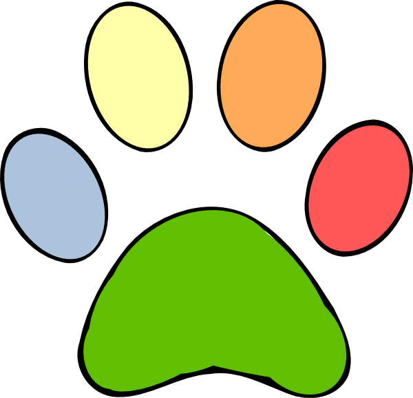 graphic free library Colorful paw print clip. Paws clipart