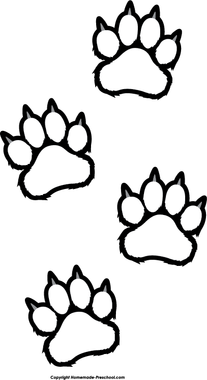 picture free Free paw prints click. Black bear clipart black and white