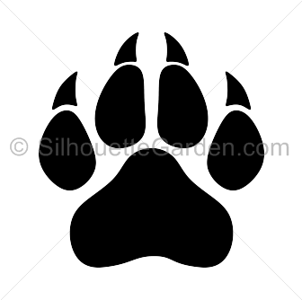 freeuse Panther paw print silhouette clip art