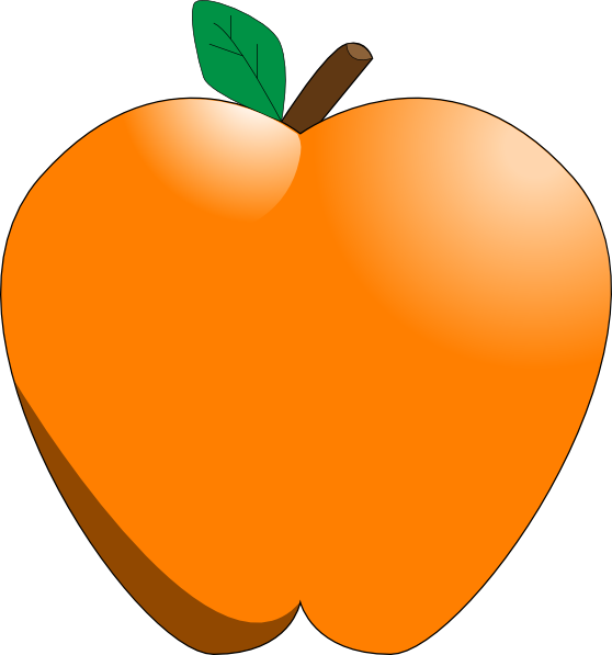 graphic black and white library Peach clipart orange apple