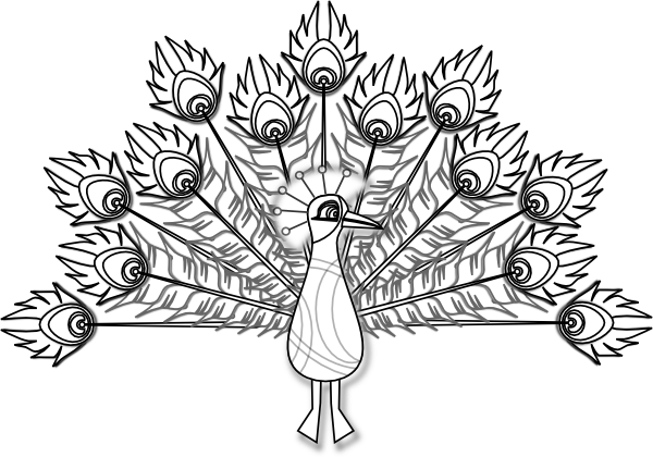 graphic royalty free library Coloring book clip art. Peacock feather clipart black and white