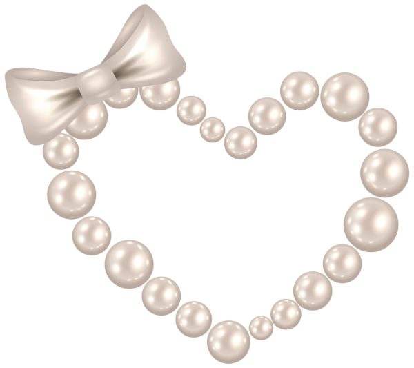 png black and white stock Pearls clipart. Pearl heart with bow
