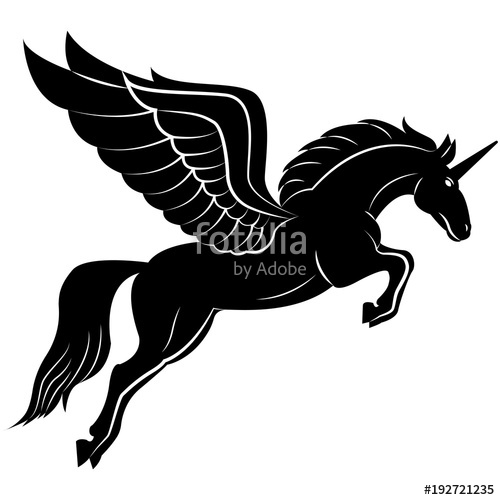image stock Pegasus vector. Image of a silhouette