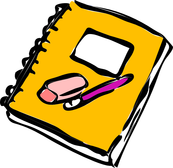 vector free stock Notebook With Pencil And Eraser Clip Art at Clker
