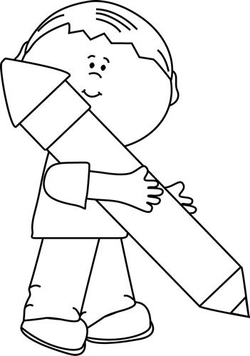 clipart stock Black and White Boy Holding a Big Pencil Clip Art