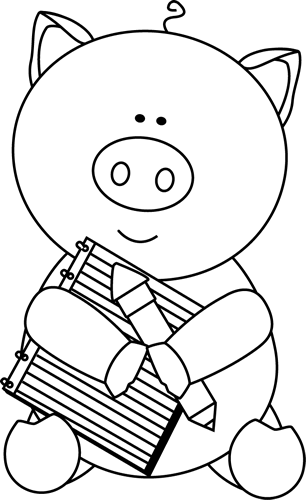 png transparent stock Pencil writing clipart black and white. Pig with notepad clip