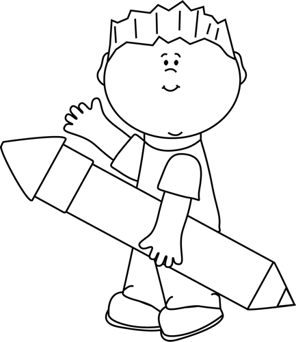 banner transparent stock Pencil writing clipart black and white. Boy with giant waving