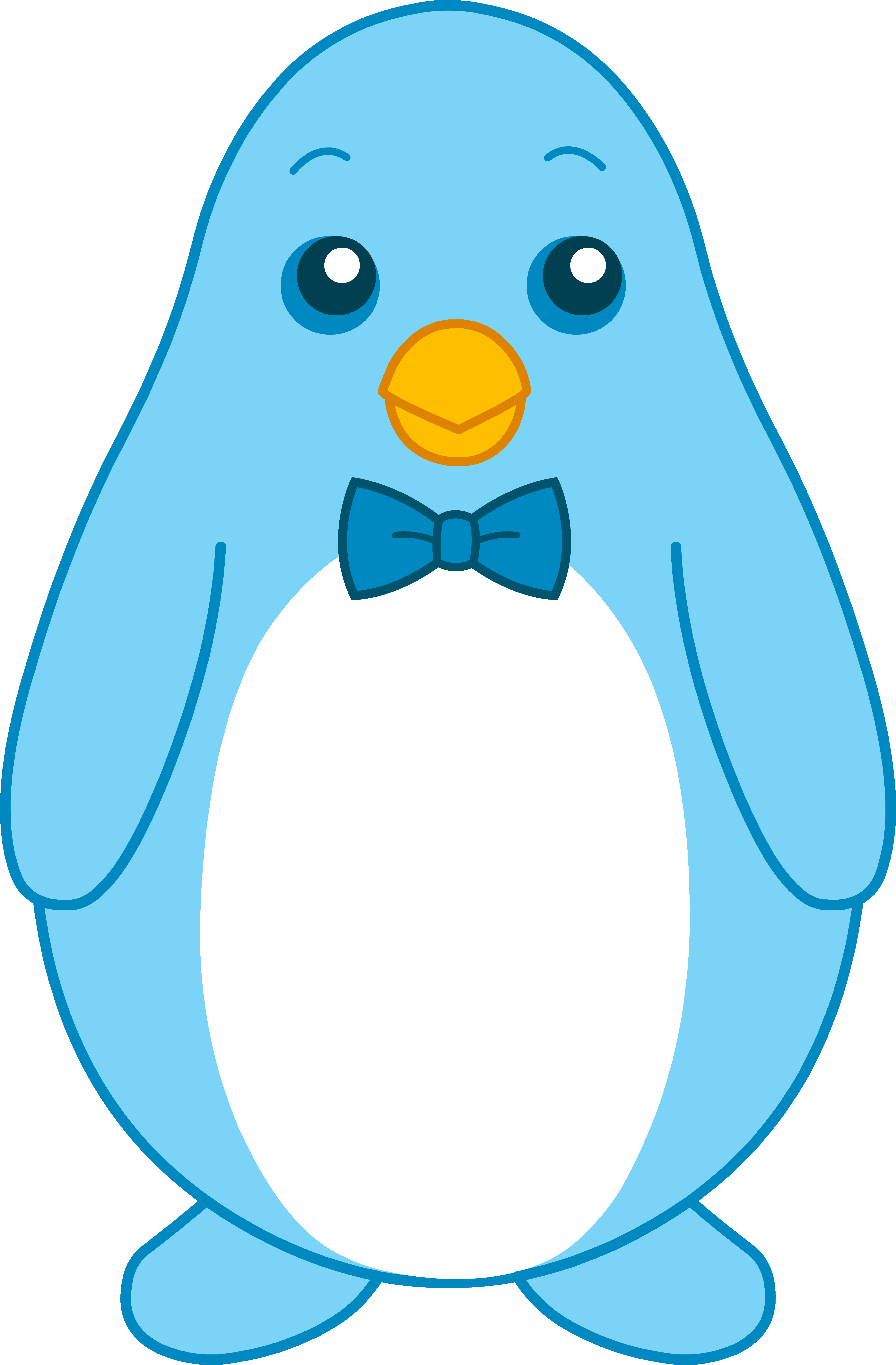 jpg freeuse stock Drawing penguin cute. Little blue with bow