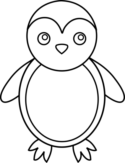clipart transparent library Penguin Line Art
