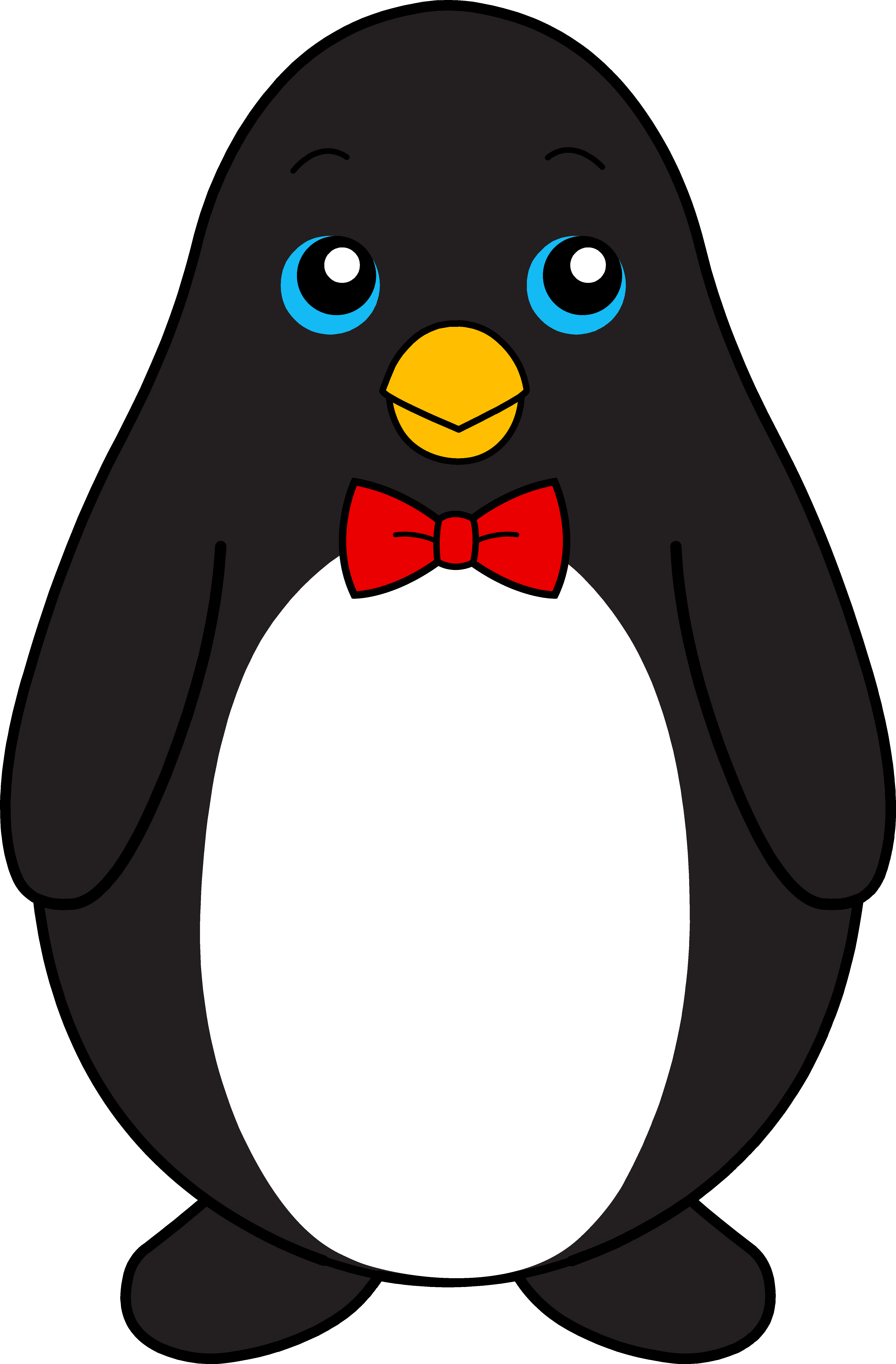 clipart royalty free library Clipart black and white. Drawing penguin cute