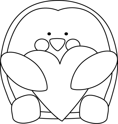 png royalty free Penguin Valentine Black And White Clipart