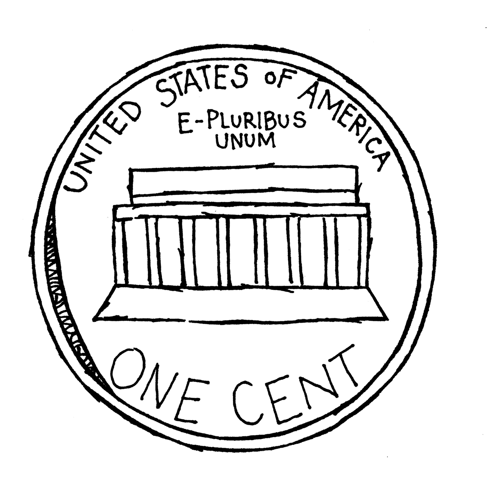 clip art library library Coin . Nickel clipart black and white