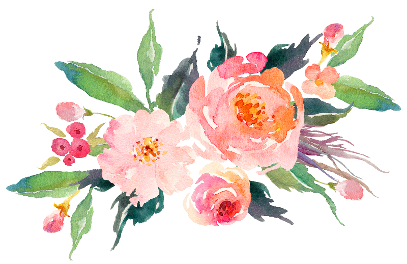 vector black and white stock Pink Watercolor Flowers Gifts by junkydotcom