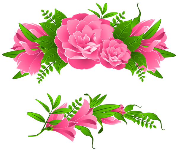 picture download Pink flowers decorative element. Peony clipart illustrated