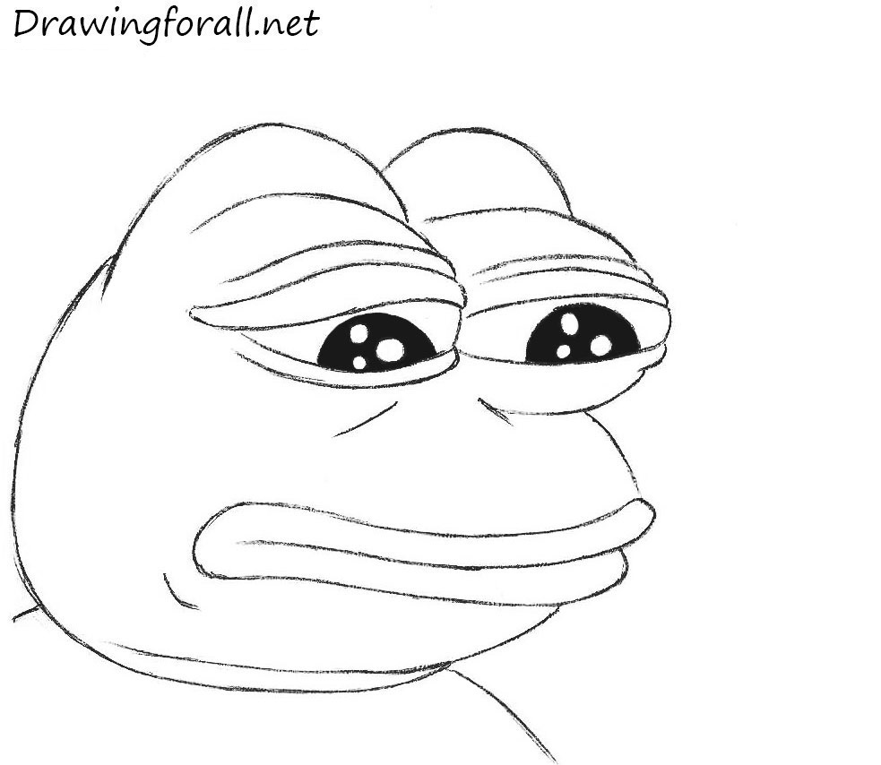 clip stock How to draw sad. Pepe drawing