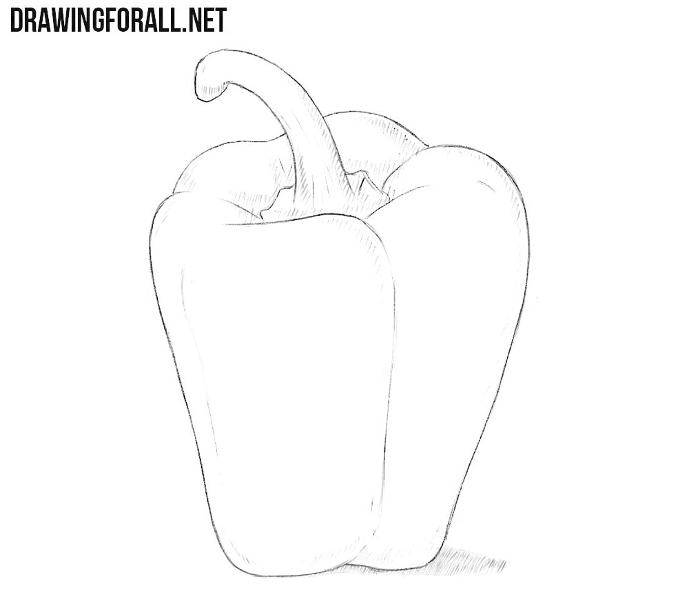 black and white stock Peppers drawing. How to draw a