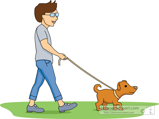 graphic free Man and free download. Person walking dog clipart.