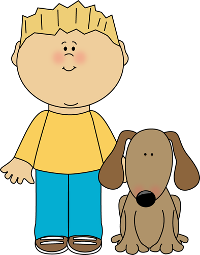 banner freeuse stock Boy with Pet Dog Clip Art