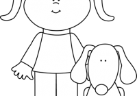 clip download Pet clipart black and white. Puppy felt girl with