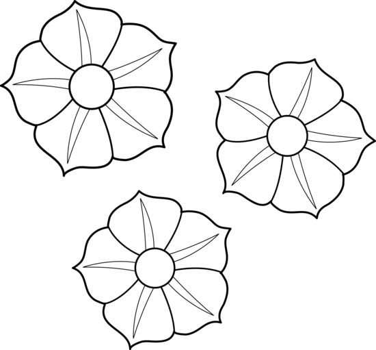 clipart free download Colorable Petunia Flowers