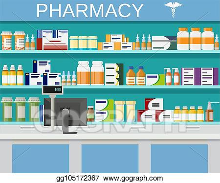 clipart library download Vector stock modern interior. Pharmacist clipart chemist shop