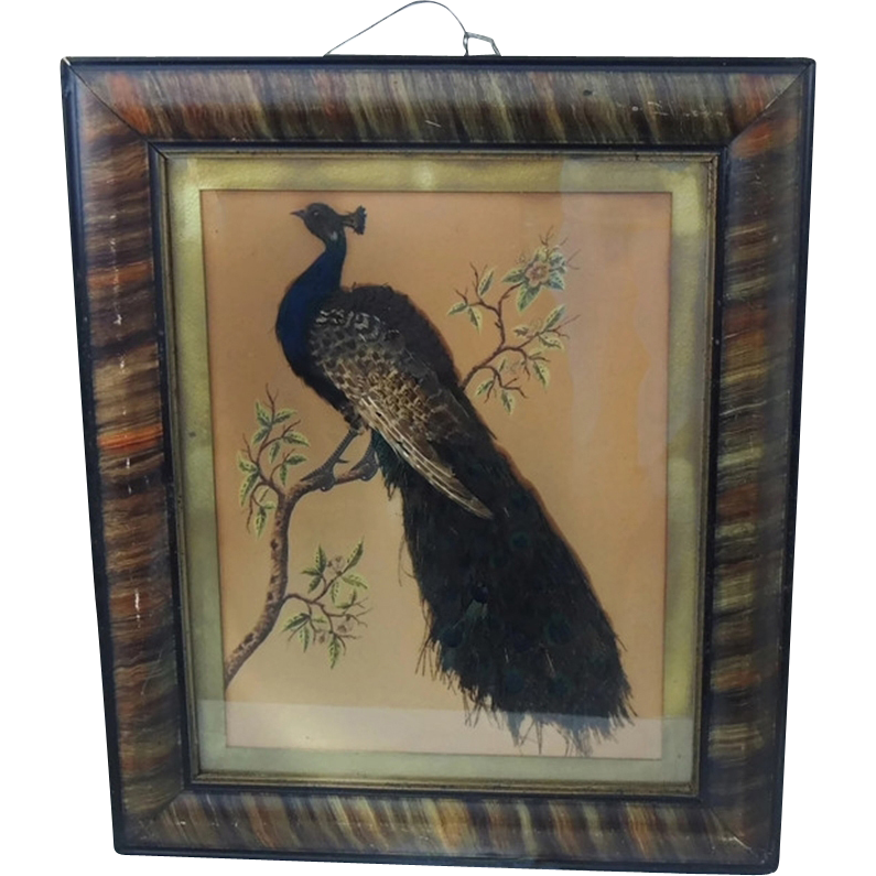png free stock Victorian Folk Art Peacock Feather and Painting on Paper Grain