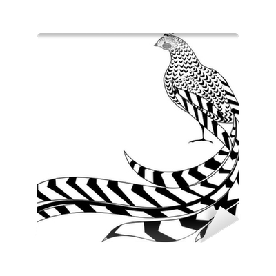 graphic black and white pheasant drawing reeves #101196591