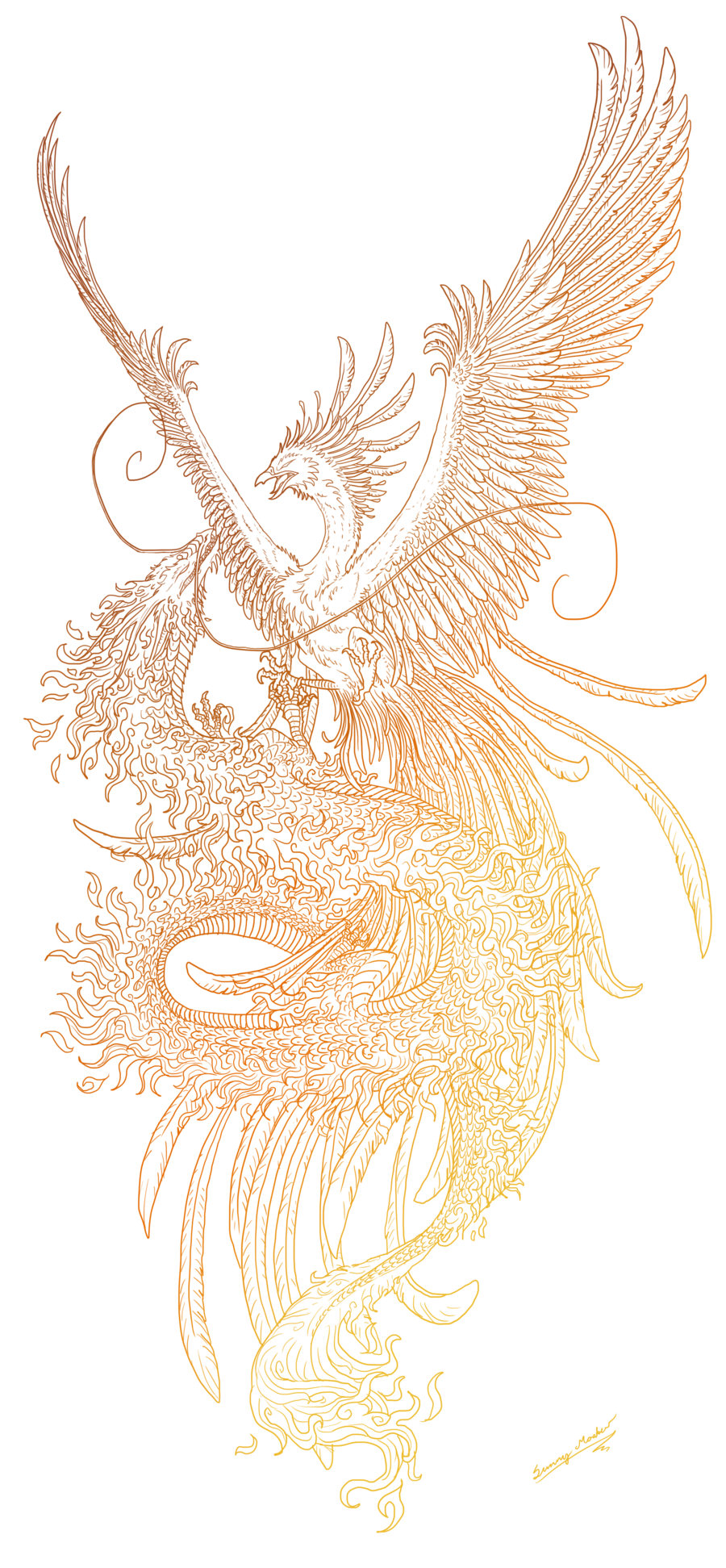svg transparent library Phoenix and dragon lineart by Sunima
